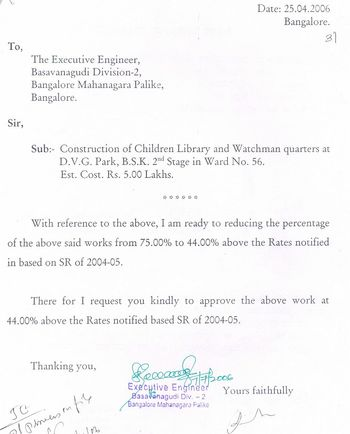 Contractor letter to BMP officials