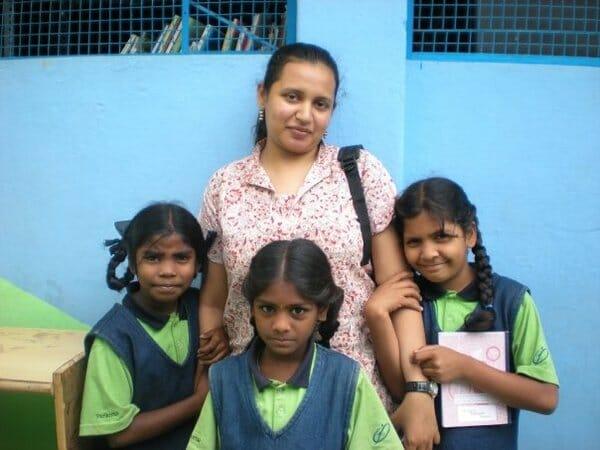 Aparna with the kids at Parikrma