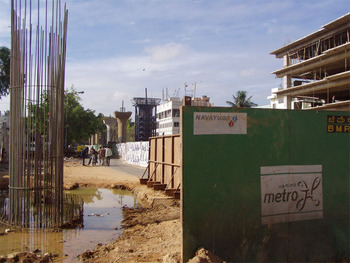 Metro work on 100 feet road, Indiranagar