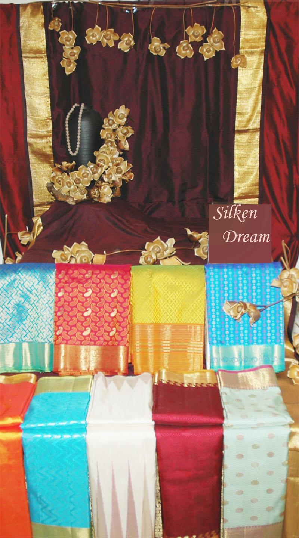 Silk material and saris
