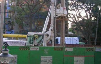 Namma Metro's construction on M.G.Road, Bangalore