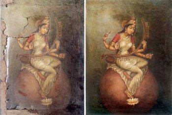 ICKPAC restoration of Sarasvathi painting