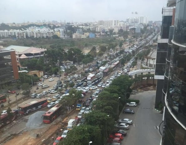 traffic jam on outer ring road in bengaluru
