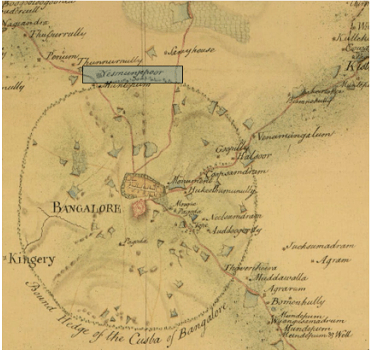 A map of Bangalore in the 1800s, Source: the British Library online catalogue. Colour overlay done by Meghana Kuppa indicating 'Yashmanjipoor'