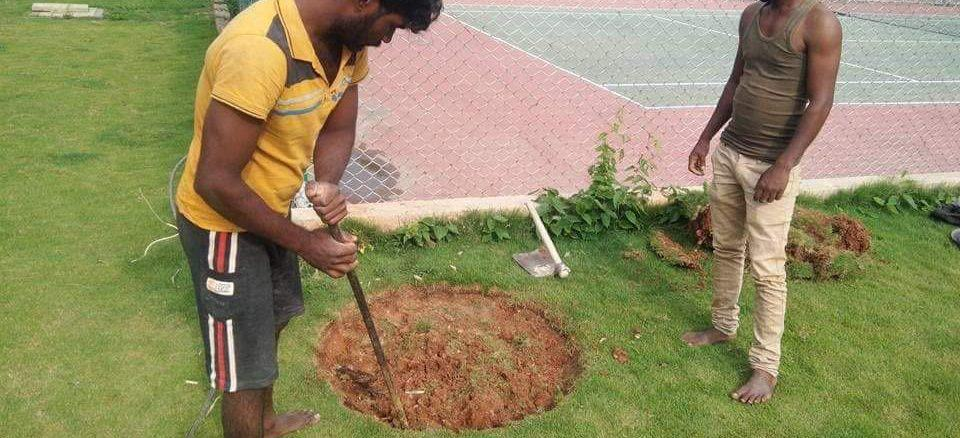 A recharge well being dug