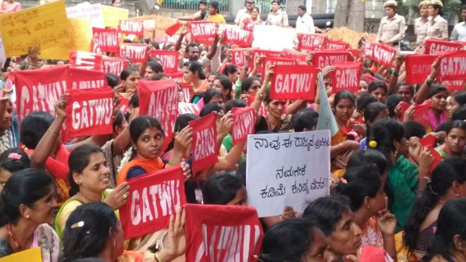 Hundreds of workers from across Karnataka gathered at Karmikara Bhavana to protest against low wages and discrimination. Pic: Vinay Sreenivasa