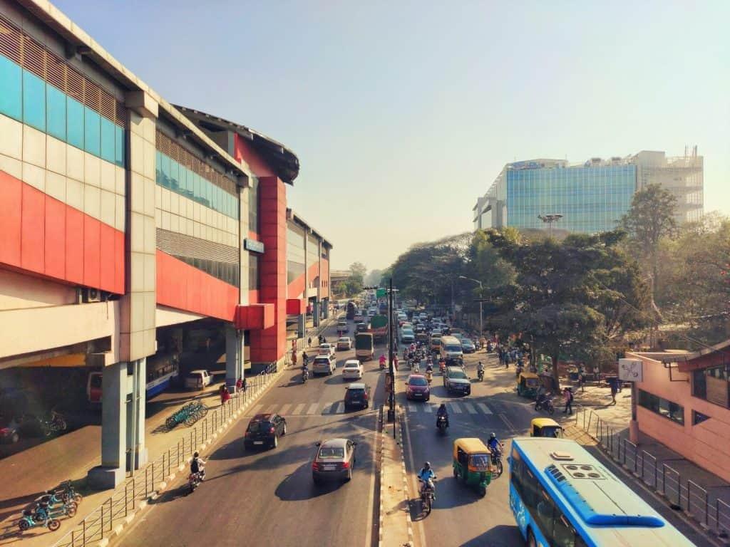 cars and bikes on the roads of Bengaluru