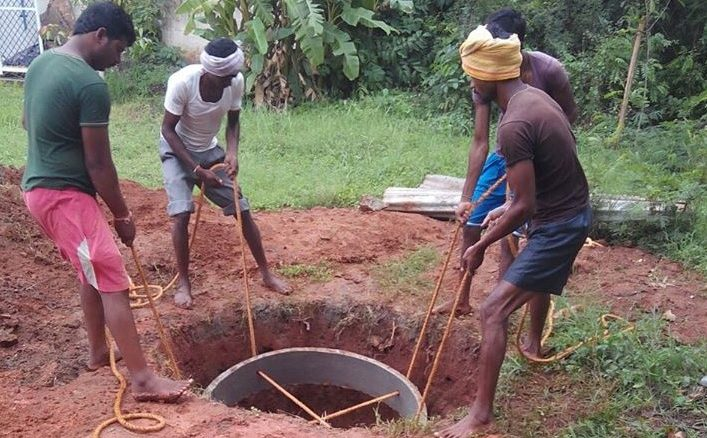 A recharge well being built