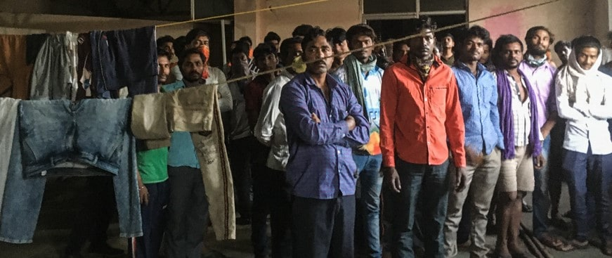 Metro workers in a labour colony during lockdown
