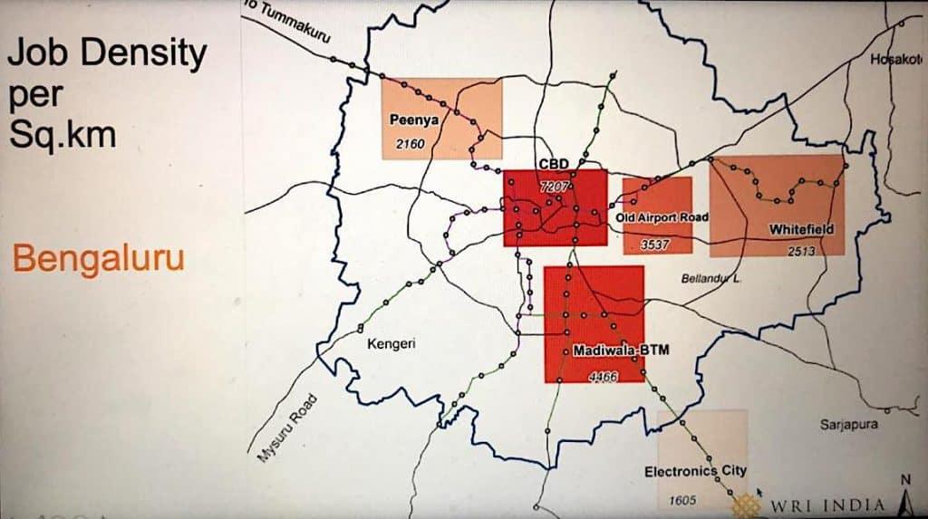 Job Density across Bengaluru. Source: WRI India