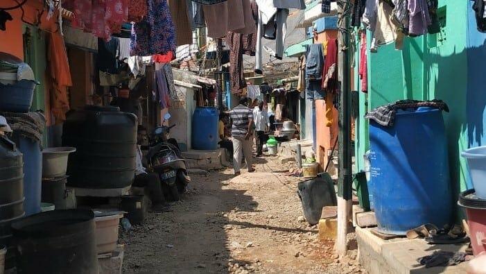 A slum in Vinoba Nagar, where the streets are similar to the dense grain of low-income settlements across the city. PIC: Raghav Indra