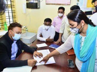 Inspectors reviewing BBMP PHC at Ulsoor, Bengaluru