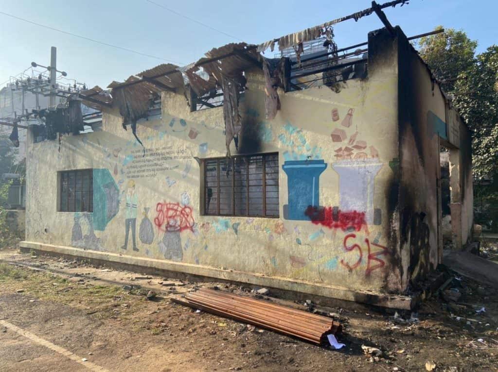 Burnt building - DWCC