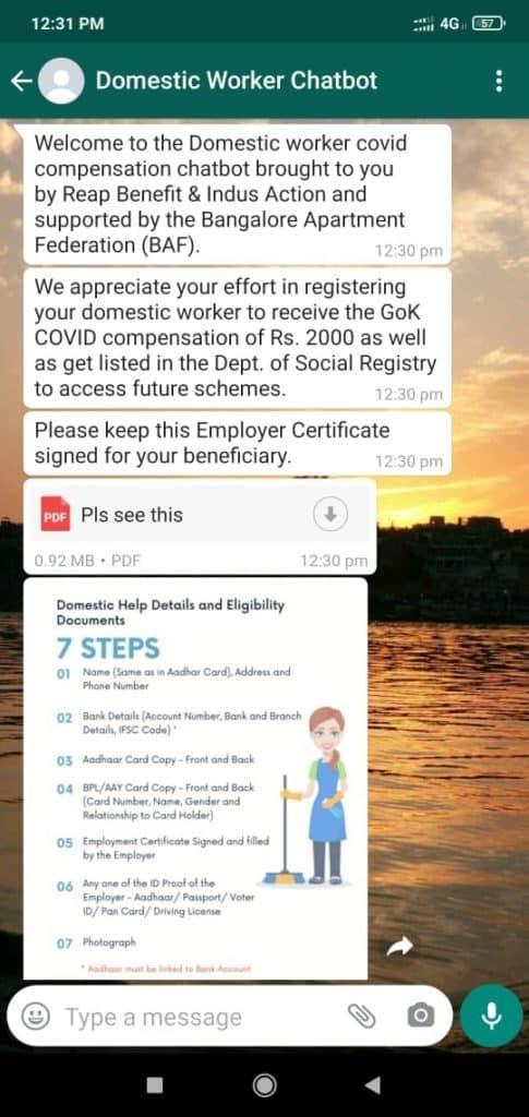 domestic worker whatsapp chatbot