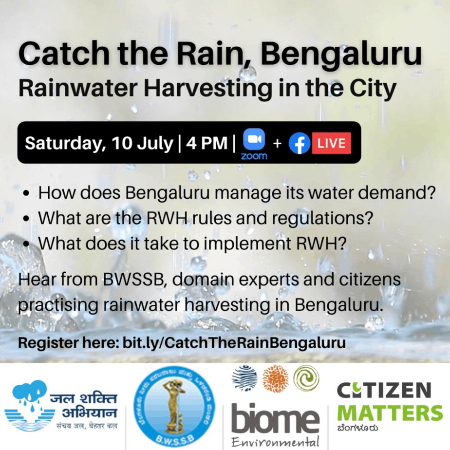 Catch the Rain, Bengaluru: Rainwater Harvesting in the City event poster