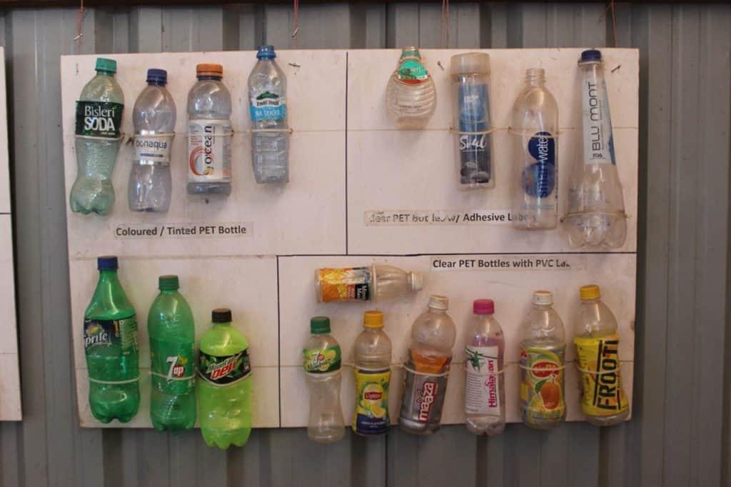 Different types of PET bottles.