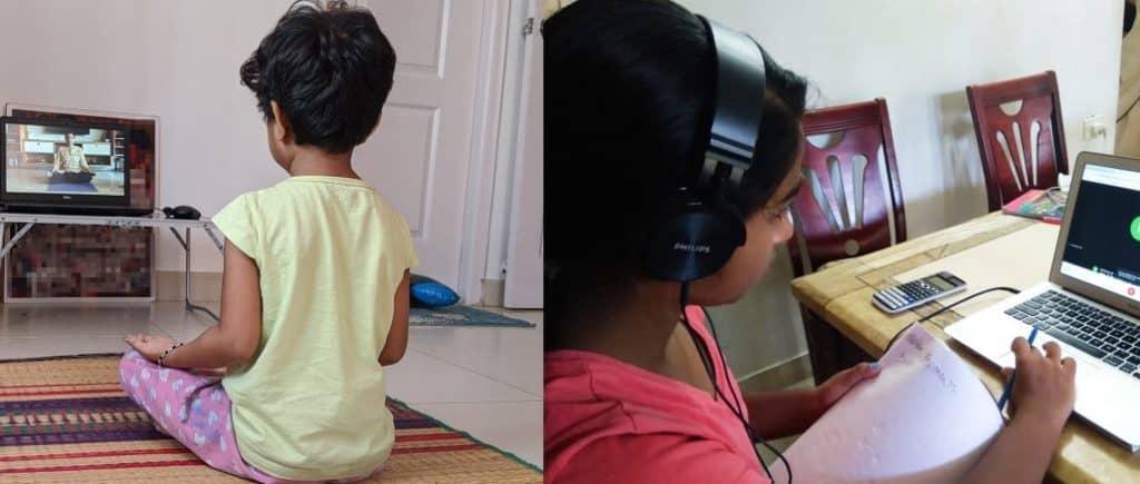 children attending online classes