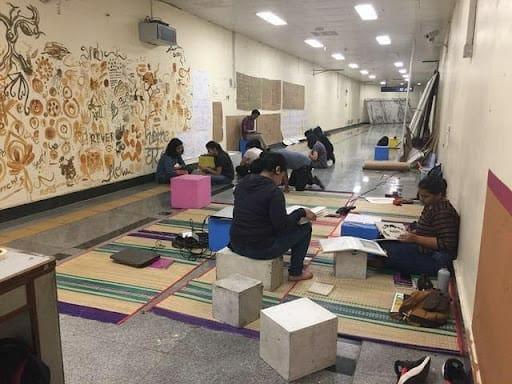 Srishti students at work at the Metro station