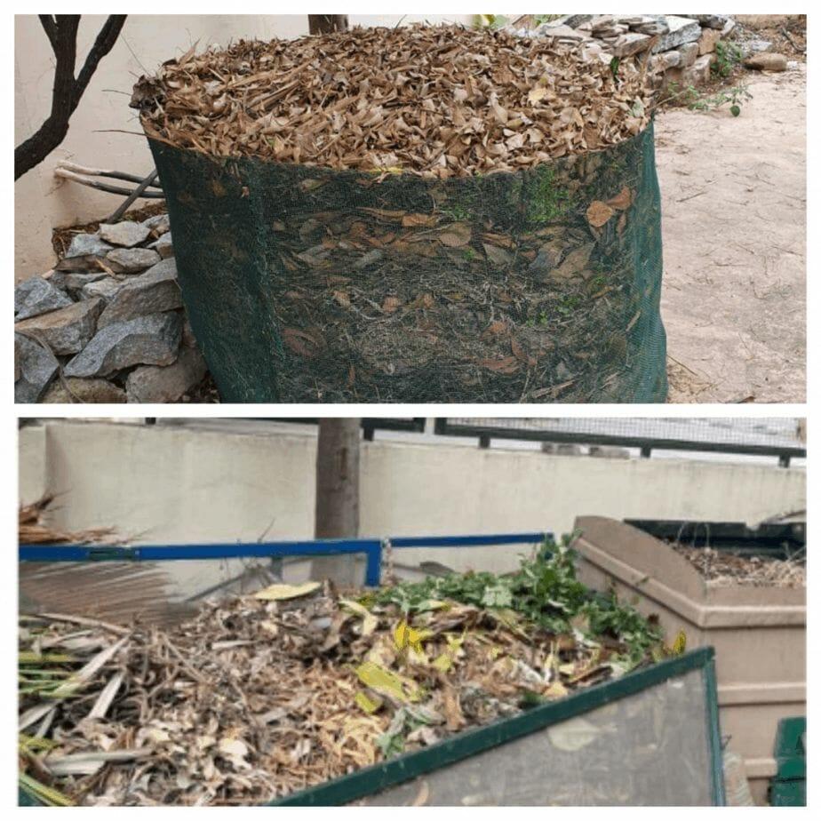 Leaf litter and compost bin