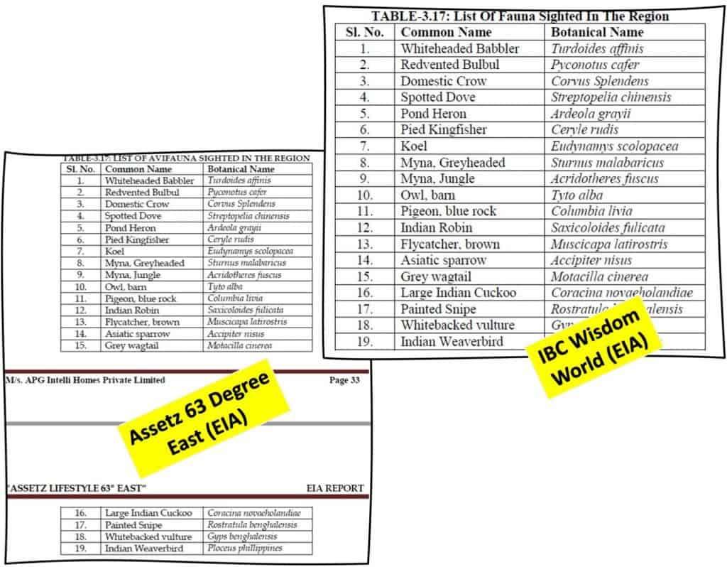 Similar sections in Assetz 63 Degree East EIA and IBC Wisdom World EIA