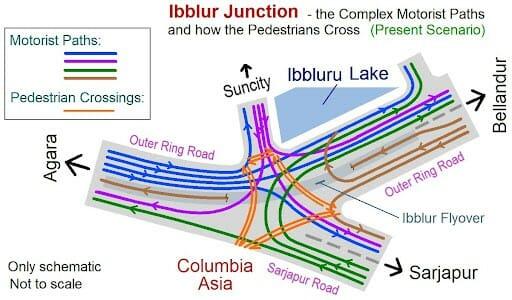Iblur Junction - Pedestrian crossings and Motorist paths