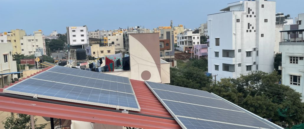 Solar panels mounted on the terrace