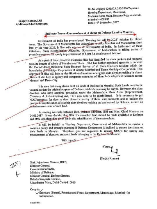 Letter about slum encroachment and rehabilitation