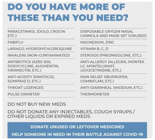 donate unused medicines - list of medicines accepted