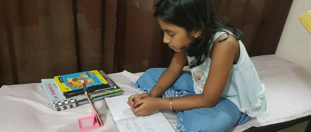 Child attending night classes