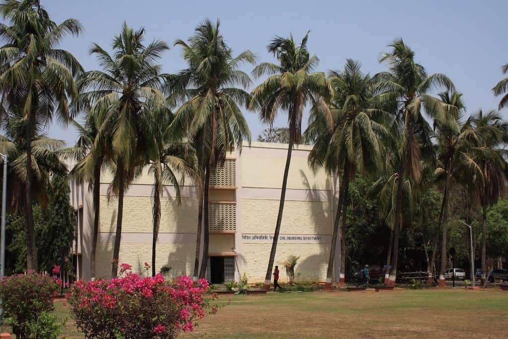Civil engineering building of IIT-Bombay, slightly hiding behind trees