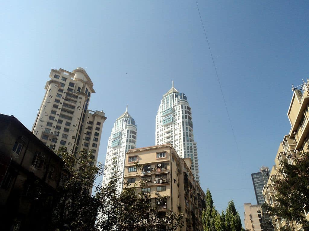 View of the top of Mumbai buildings