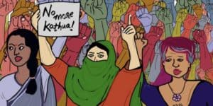 Illustrated image by artist Marva M for Feminism In India, as part of a curatorial project to design images for sexual violence stories that are not graphic in nature. Group of women are drawn as protesting sexual violence.