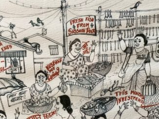 sketch of Mumbai's fish market, displaying Koli women and their conversations