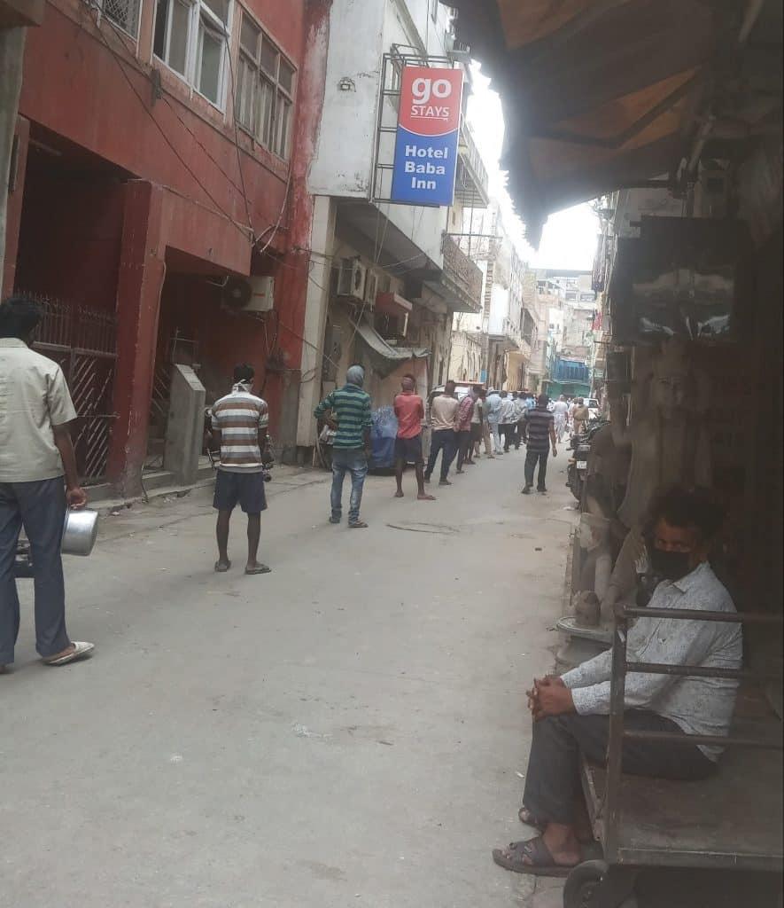 Migrant Workers in Queue for Food in Paharganj, Delhi