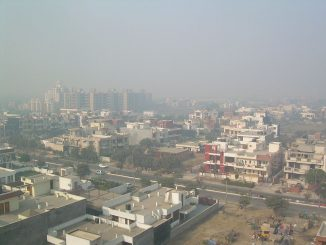A smoggy Delhi neighbourhood