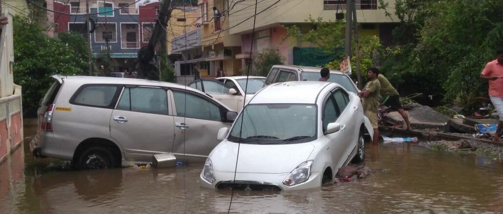 Flooded street in Hyderabad