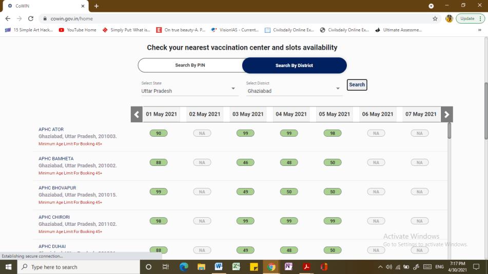 Vaccine centres screenshot 2