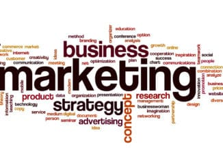 Word cloud of marketing terms and business jargon