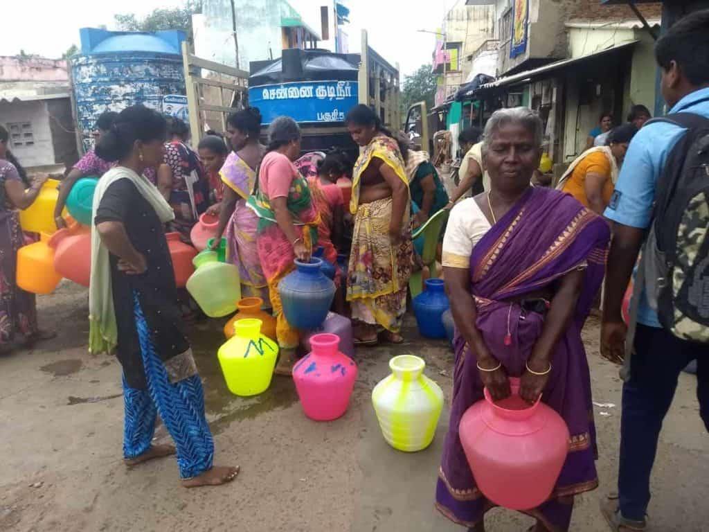women fetching water in Chennai