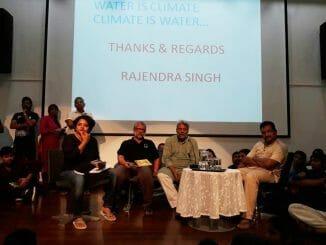 The panel: from left, Sandhya Ravishankar (journalist), Suresh Veeraraghavan (General Secretary of PUCL), Dr Rajendra Singh (the water man of India) and Piyush Manush (an Environmentalist) Pic: Bhavani P