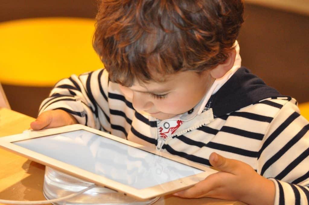 boy attending virtual classes
