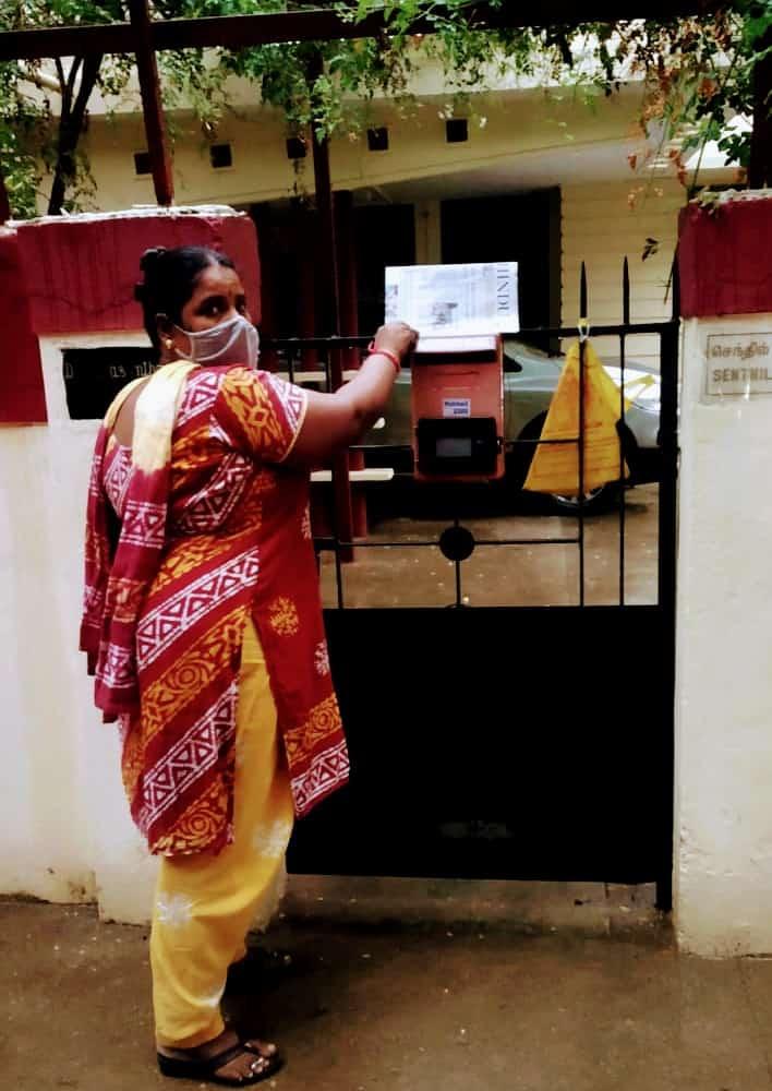 Ranjithavalli Rajesh delivers the newspaper at R A Puram.