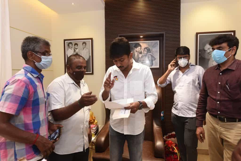 Tamil Nadu Newspaper Distributors Association requeting the Chepauk-Triplicane MLA Udayanidhi Stalin to categorise them as frontline workers