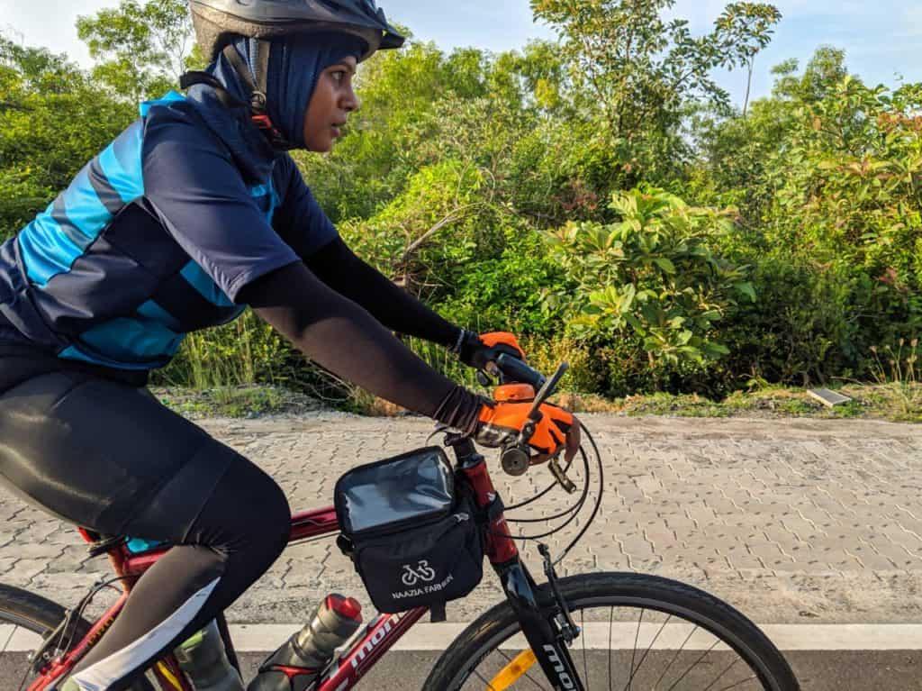 Naazia cycling in Chennai